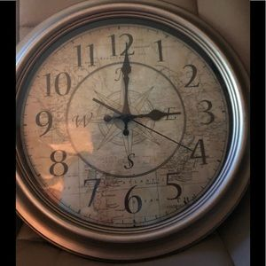 Clock with map/compass background.